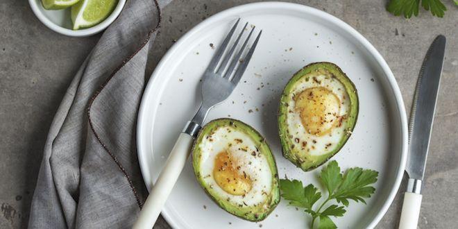 Avocado with an egg