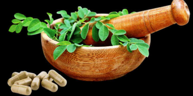 Ground moringa leaves in a wooden bowl and capsules