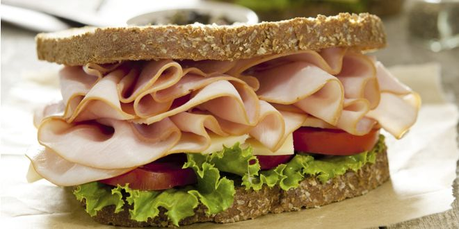 Sandwich with Rye Bread, Ham and Tomato