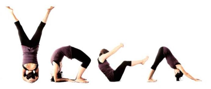 Yoga letters with yoga poses