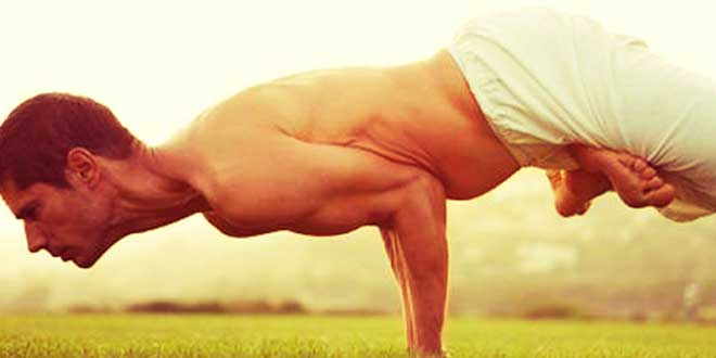 Man doing yoga poses