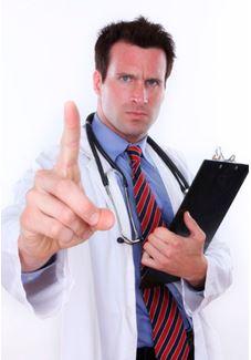 A doctor reprimanding