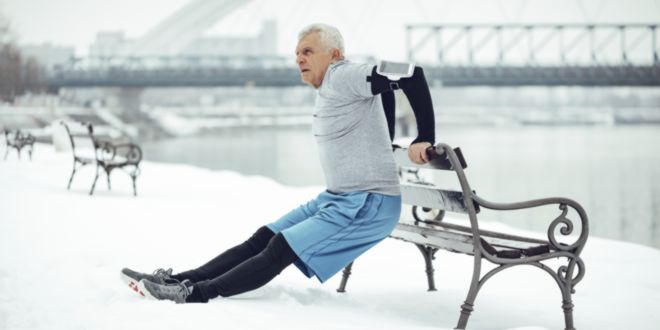 Old man doing exercise