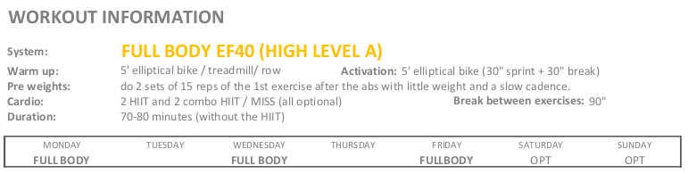 Workout Info