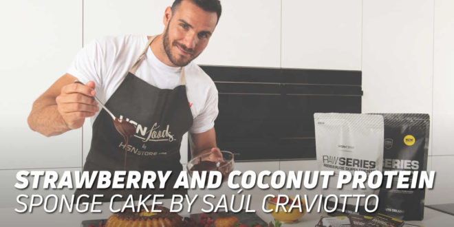 Strawberry and Coconut Protein Sponge Cake, by Saúl Craviotto