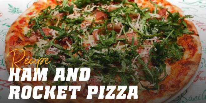 Pizza with Serrano Ham, Mozzarella and Rocket