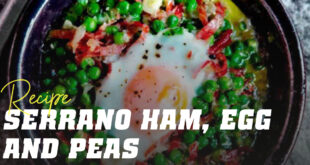 Serrano ham egg and peas