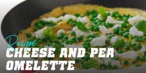 Cheese and pea omelette