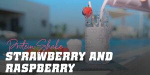 Protein shake strawberry and raspberry