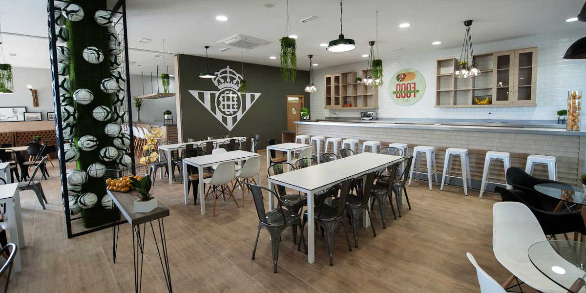 Where does a footballer eat?