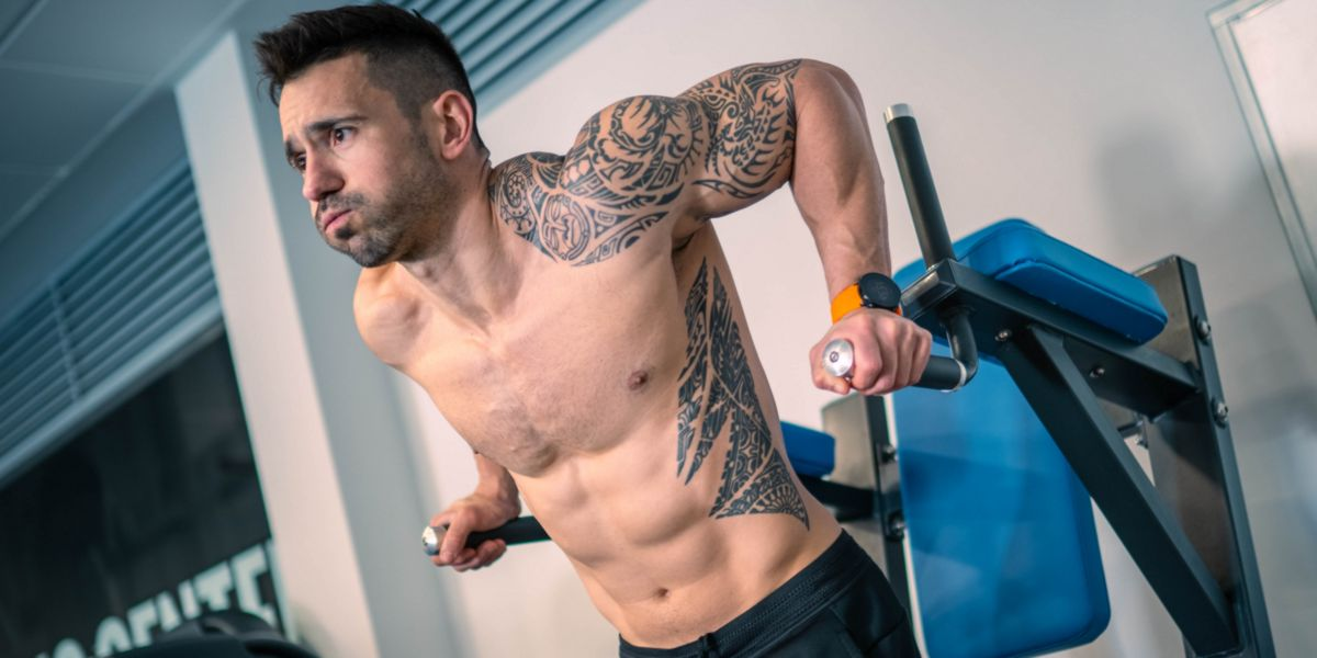 Chest dips on parallel bars