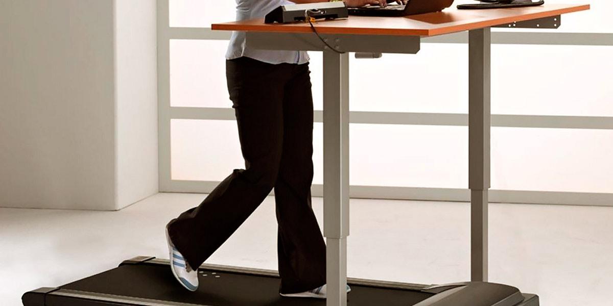 Desk and treadmill