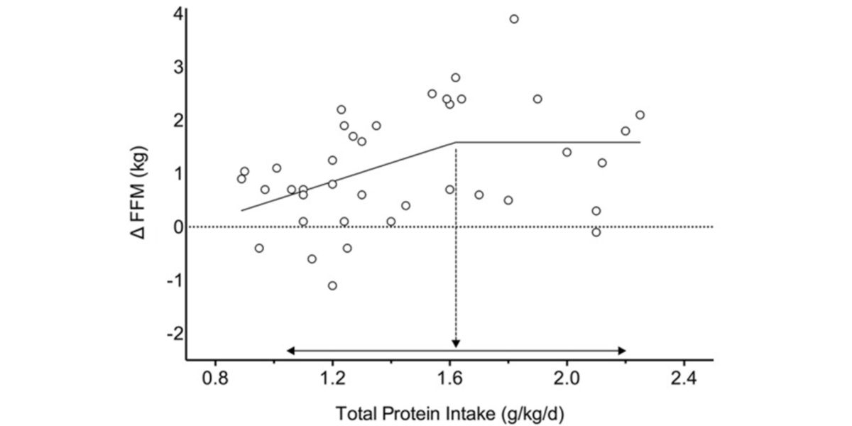 Distribution of fat-free mass response as a function of total protein amount