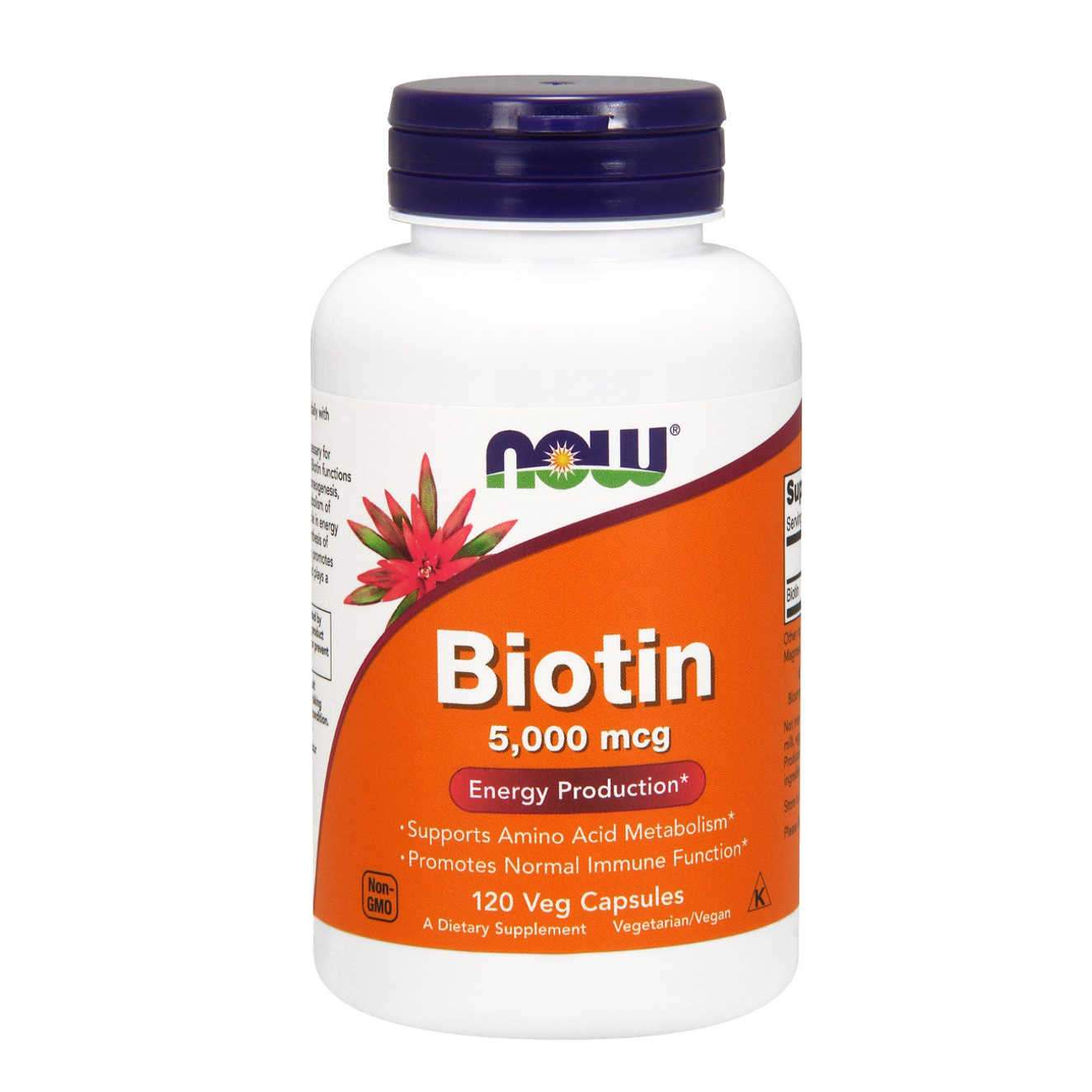 BIOTIN 5000mcg NOW - 120 veg caps