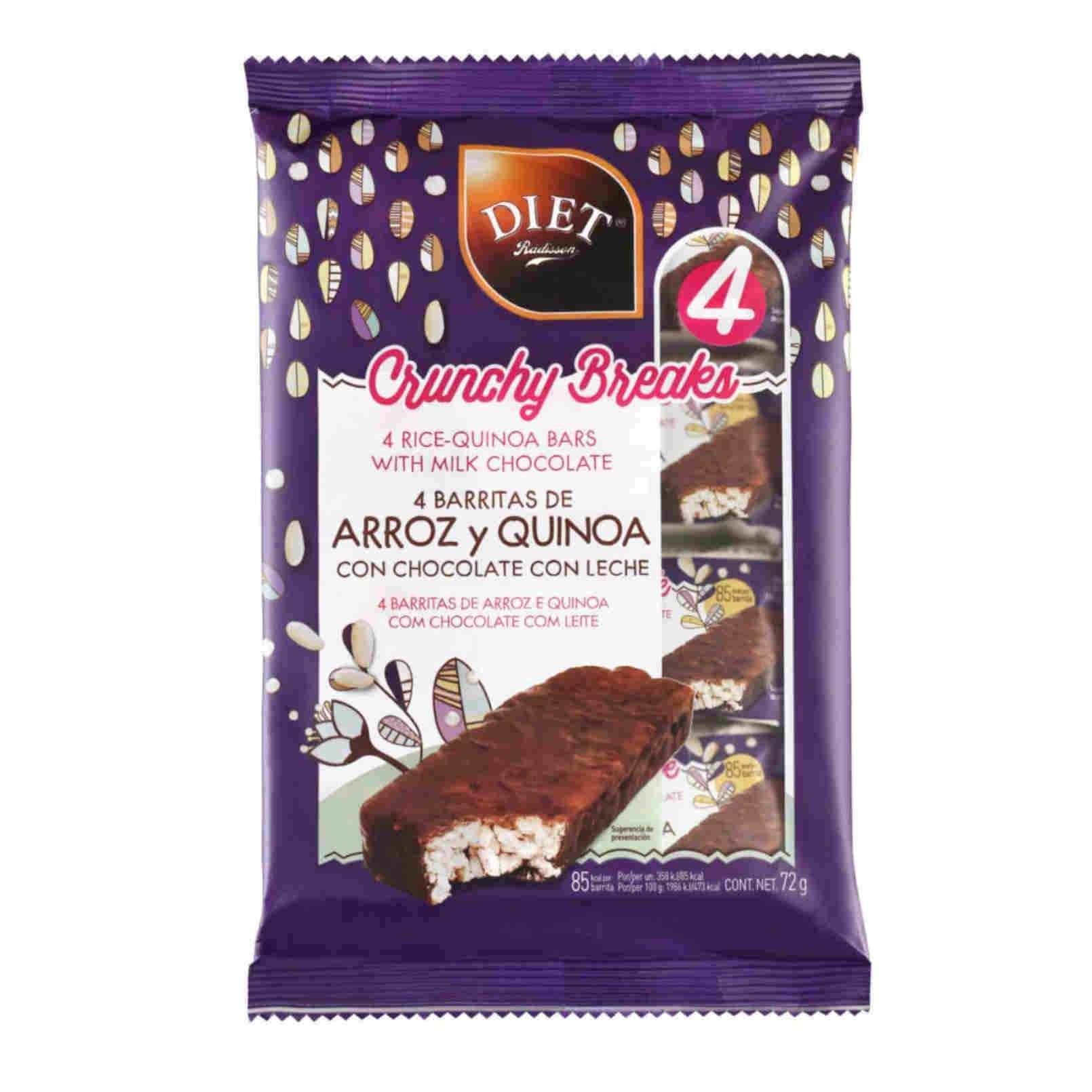 BARRITAS DE ARROZ Y QUINOA CON CHOCOLATE CON LECHE - 4x18g