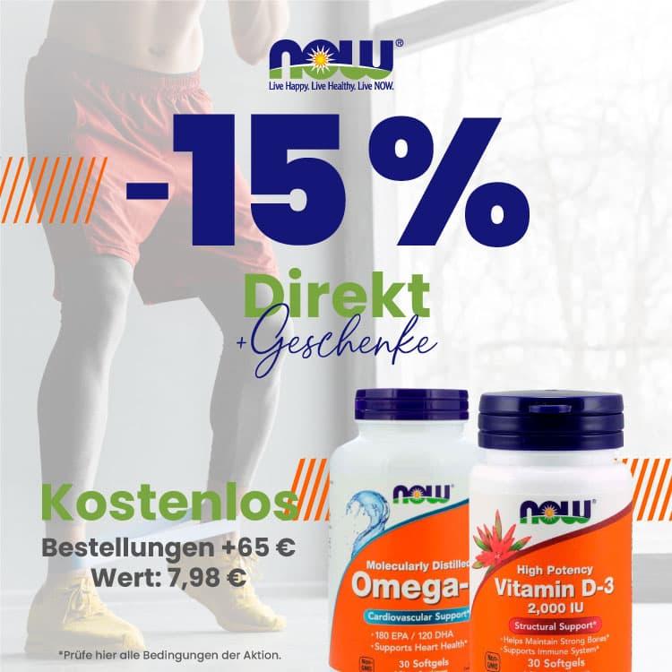 15% Direktrabatt auf Now Foods