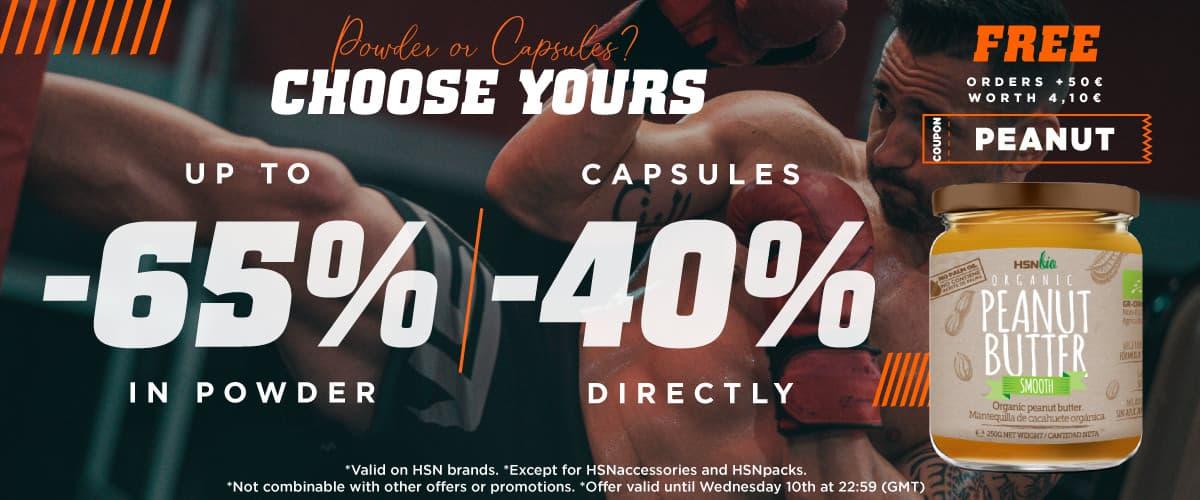 Up to 65% Powder 40% Capsules