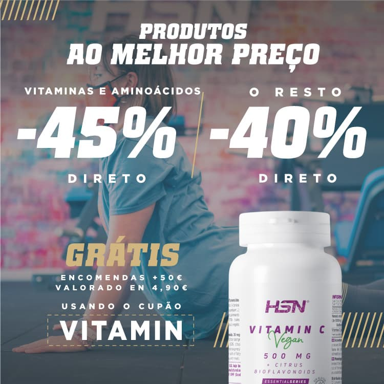 Promo 45% dto em Vitaminas e Aminoácidos HSN