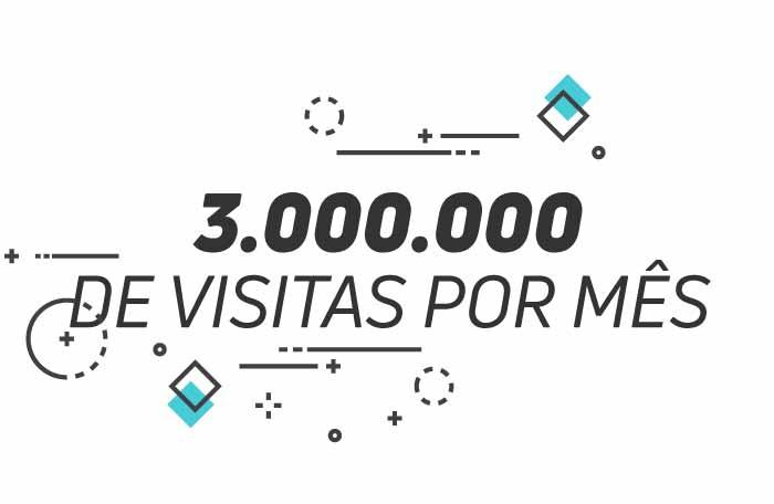 3.000.000 de visitas por mês